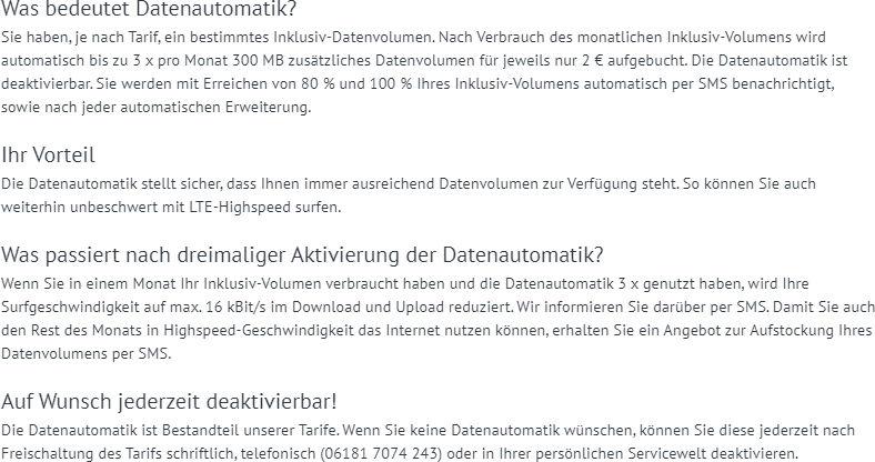 Handyvertrag.de Datenautomatik abschalten