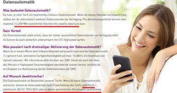 Yourfone Datenautomatik abschalten
